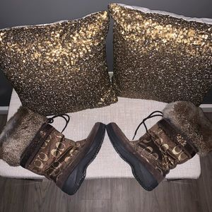 Coach Monogram Fur Boots